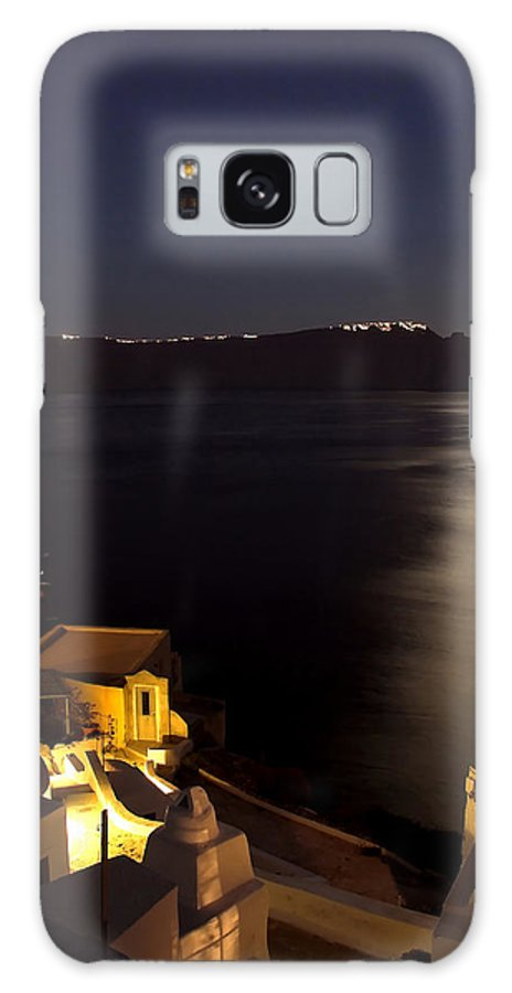 Greece Galaxy S8 Case featuring the photograph Santorini Caldera Moonlight by Ollie Taylor