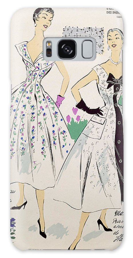 Female Galaxy S8 Case featuring the drawing Vintage Fashion Sketches And Fabric Swatches by French School