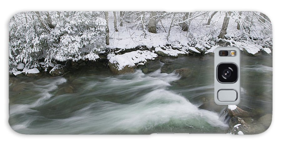 New England Galaxy S8 Case featuring the photograph Snow Covered Pine Trees On The Side Of A River In The Winter. by Don Landwehrle