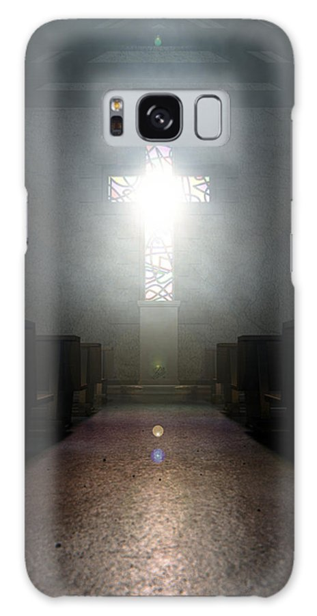 Window Galaxy S8 Case featuring the digital art Stained Glass Window Crucifix Church by Allan Swart