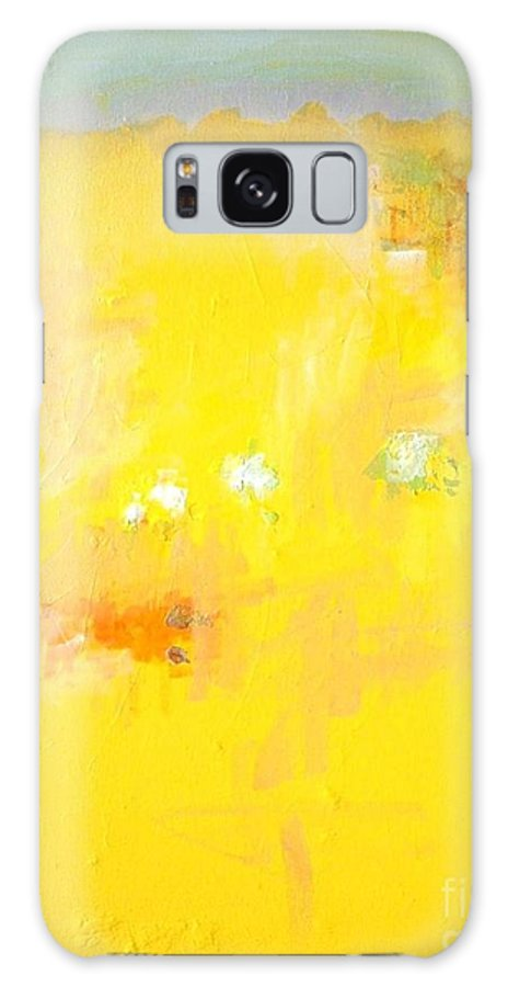 Yellow Abstract Galaxy S8 Case featuring the painting Summer Ice Cream Stains by Vesna Antic