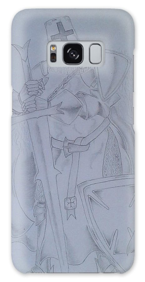 Knight Sword Shield Armor Galaxy S8 Case featuring the drawing Theft Deterrent by Jeffrey Lamey