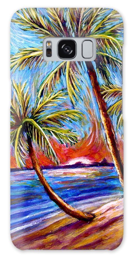 Palm Trees Galaxy S8 Case featuring the painting Three Palms On The Beach by Sebastian Pierre