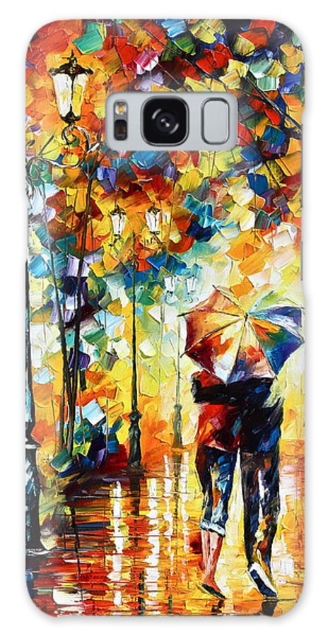 Couple Galaxy Case featuring the painting Under One Umbrella by Leonid Afremov