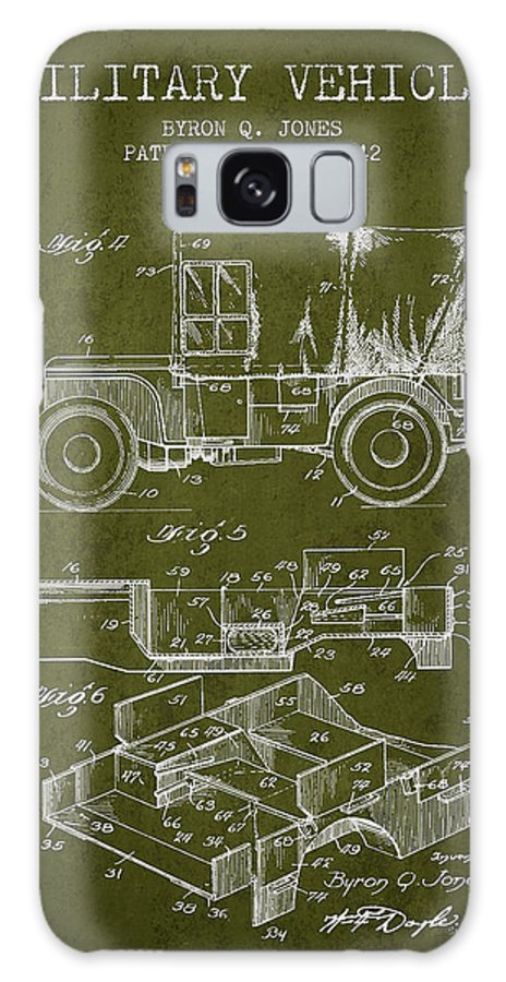 Military Vehicle Galaxy S8 Case featuring the digital art Vintage Military Vehicle Patent From 1942 by Aged Pixel