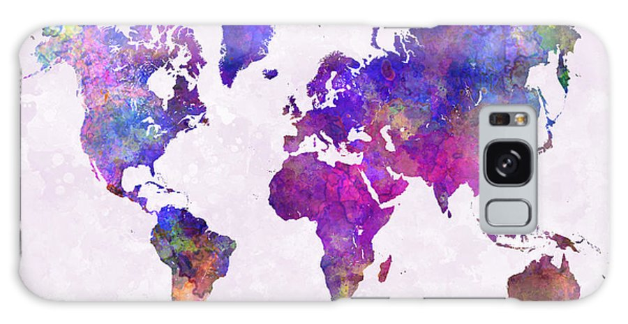 Map Galaxy S8 Case featuring the painting World Map In Watercolor by Pablo Romero
