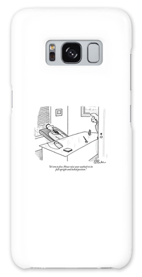 (executive At His Desk In A Reclined Position In His Chair.) Jargon Word Play 123048 Lcu Leo Cullum Airplane Galaxy S8 Case featuring the drawing It's Ten To Five. Please Raise Your Seatback by Leo Cullum