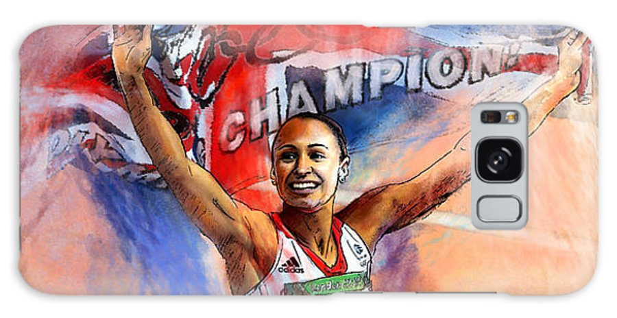 Sports Galaxy S8 Case featuring the painting 2012 Heptathlon Olympics Gold Medal Jessica Ennis by Miki De Goodaboom