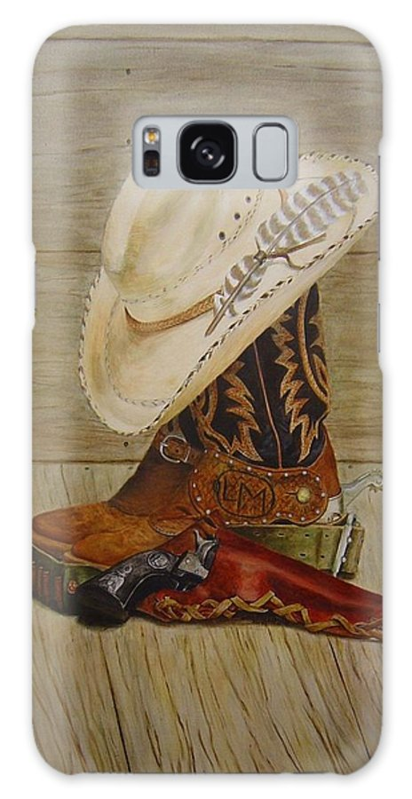 Western Galaxy S8 Case featuring the painting 239 Larry Moreland's Stilllife by Nadine Meade