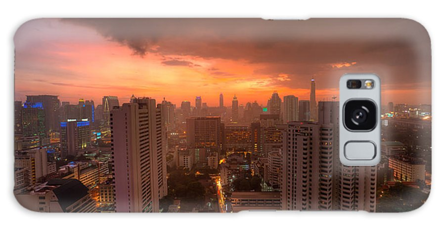 Cityscape Galaxy S8 Case featuring the photograph Bangkok City Skyline At Sunset by Fototrav Print