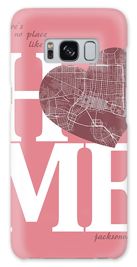 Road Map Galaxy S8 Case featuring the digital art Jacksonville Street Map Home Heart - Jacksonville Florida Road M by Jurq Studio