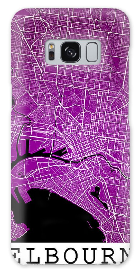 Road Map Galaxy S8 Case featuring the digital art Melbourne Street Map - Melbourne Australia Road Map Art On Color by Jurq Studio