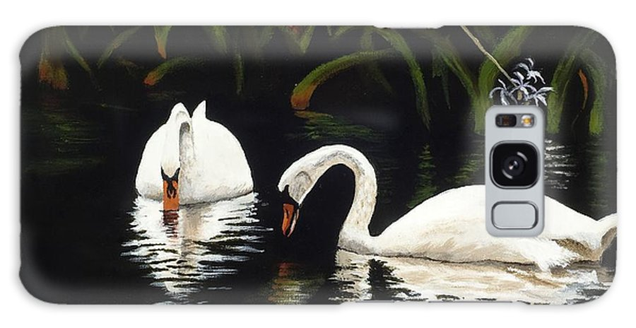 Swan Galaxy S8 Case featuring the painting Swans II by Jan Reid