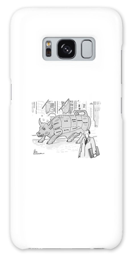 Captionless Galaxy S8 Case featuring the drawing Wallstreet Bull by Leo Cullum