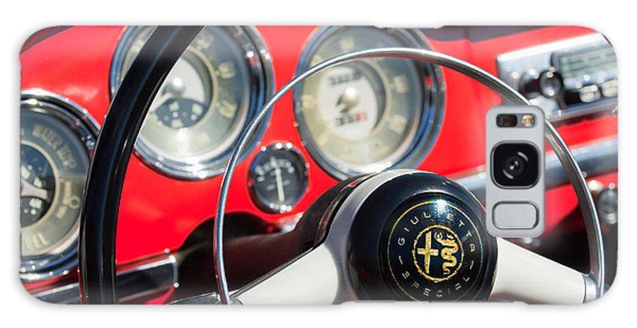 1961 Alfa Romeo Giulietta Spider Steering Wheel Emblem Galaxy S8 Case featuring the photograph 1961 Alfa Romeo Giulietta Spider Steering Wheel Emblem -1239c by Jill Reger