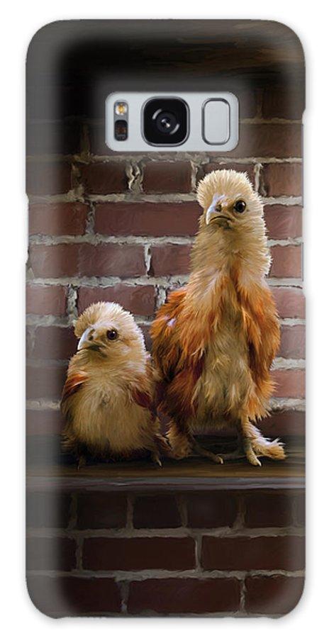 Chicken Galaxy S8 Case featuring the digital art 4. Brick Chicks by Sigrid Van Dort
