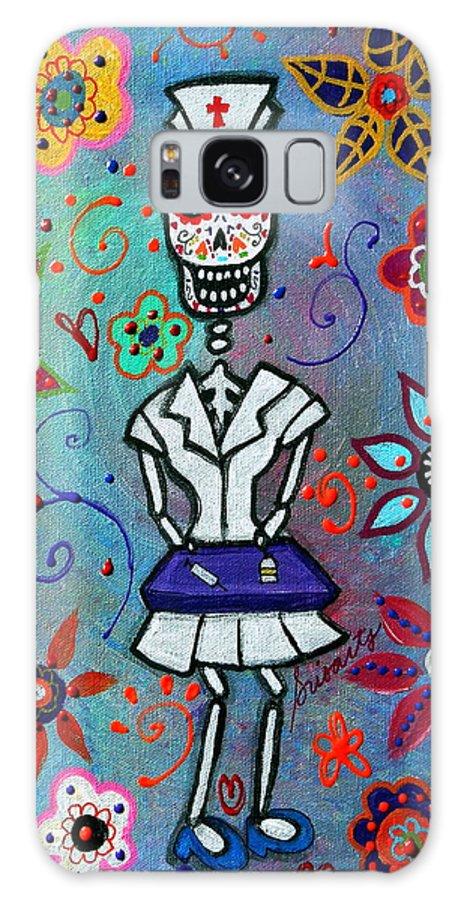 Day Of The Dead Galaxy S8 Case featuring the painting Dia De Los Muertos Nurse by Pristine Cartera Turkus