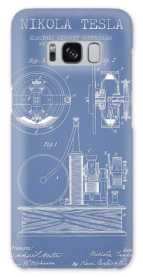 Tesla Galaxy Case featuring the digital art Nikola Tesla Electric Circuit Controller Patent Drawing From 189 by Aged Pixel
