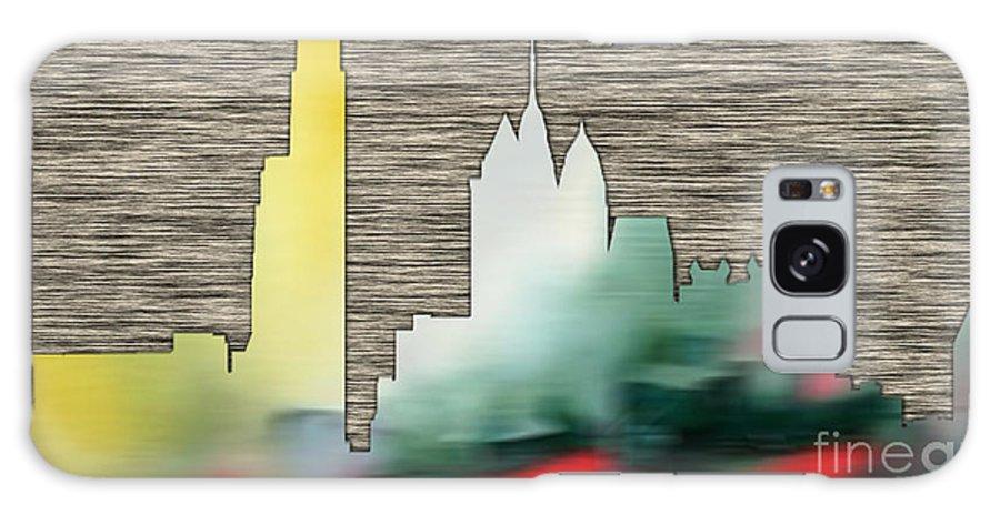 Watercolour Digital Art Mixed Media Mixed Media Galaxy S8 Case featuring the mixed media Philadelphia Skyline by Marvin Blaine