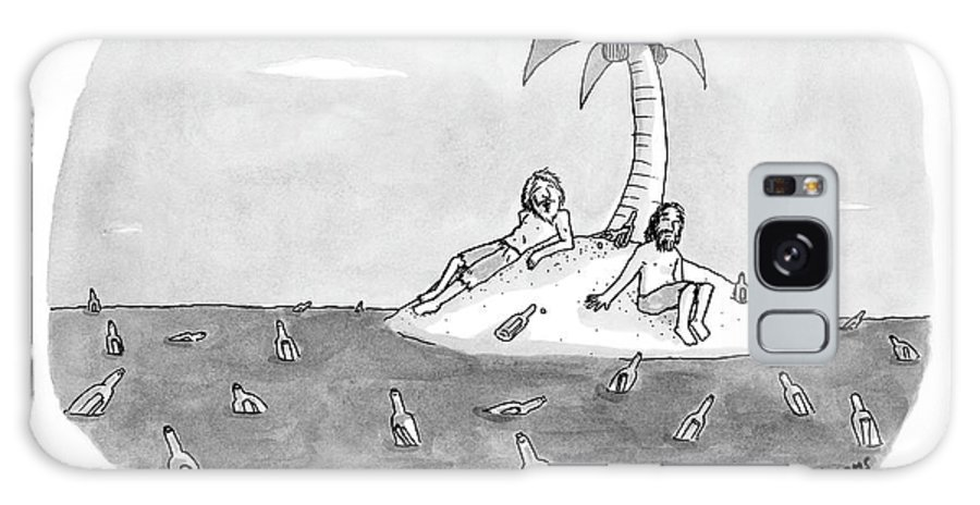 Rescue Drinking Alcohol  Sme Sam Means (two Men On A Desert Island Surrounded By Bottles.) 120672 Galaxy S8 Case featuring the drawing Great Party Last Night by Sam Means