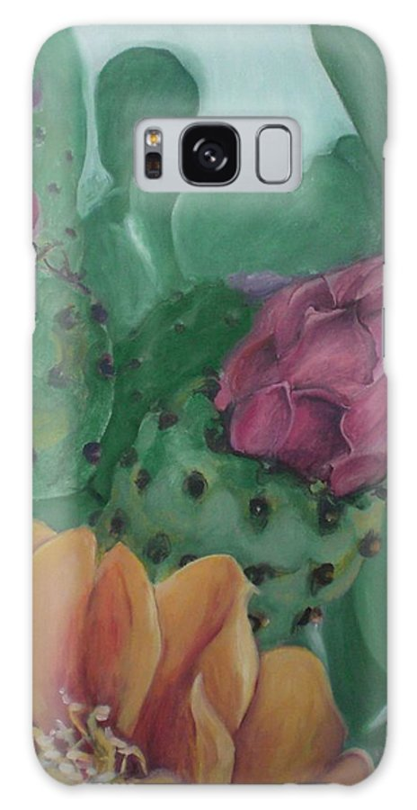 Yellow Galaxy Case featuring the painting Yellow Cactus Blossom by Aleksandra Buha