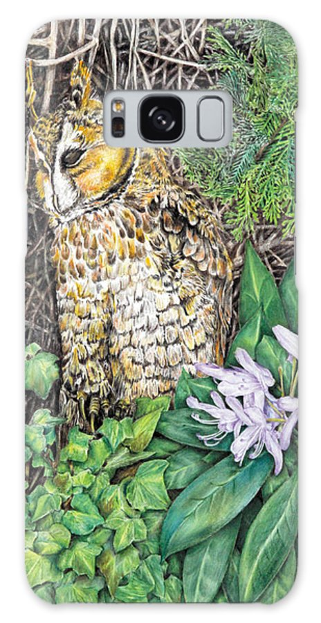 Owl Galaxy S8 Case featuring the drawing 40 Winks by John Hebb