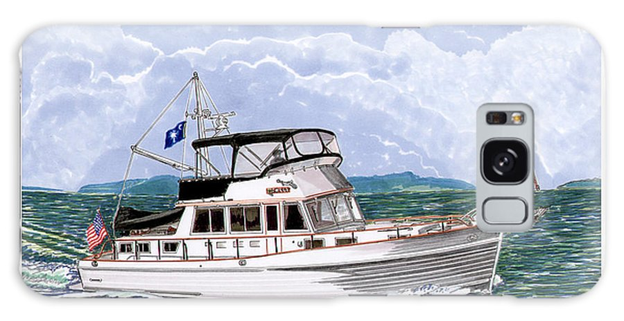 Yacht Portraits Galaxy S8 Case featuring the painting 42 Foot Grand Banks Motoryacht by Jack Pumphrey