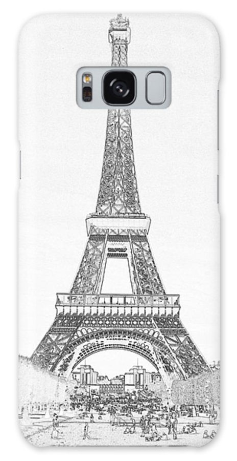 Eiffel Tower Galaxy S8 Case featuring the photograph Black Ink On White Of Eiffel Tower by Carl Purcell