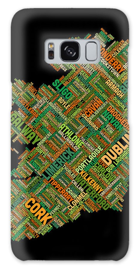 Ireland Map Galaxy S8 Case featuring the digital art Ireland Eire City Text Map by Michael Tompsett