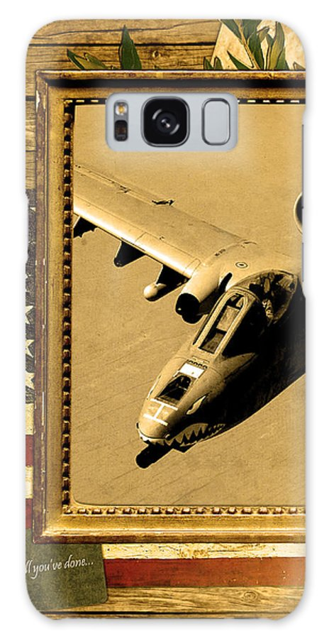 A-10 Galaxy S8 Case featuring the digital art A-10 Warthog Rustic Flag by Reggie Saunders