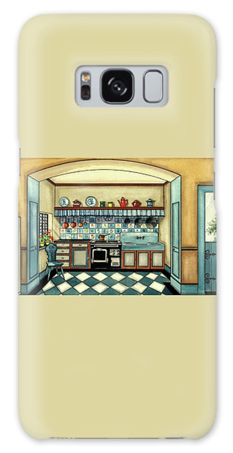 Kitchen Galaxy S8 Case featuring the digital art A Blue Kitchen With A Tiled Floor by Laurence Guetthoff