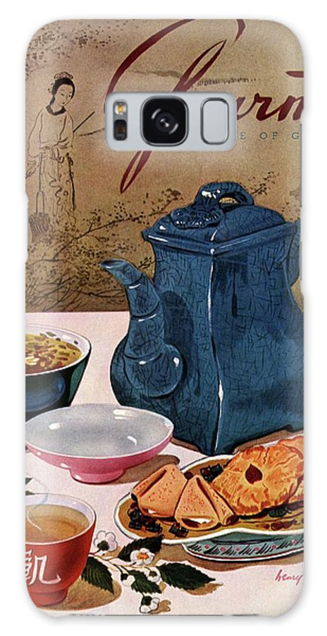 Food Galaxy S8 Case featuring the photograph A Chinese Tea Pot With Tea And Cookies by Henry Stahlhut