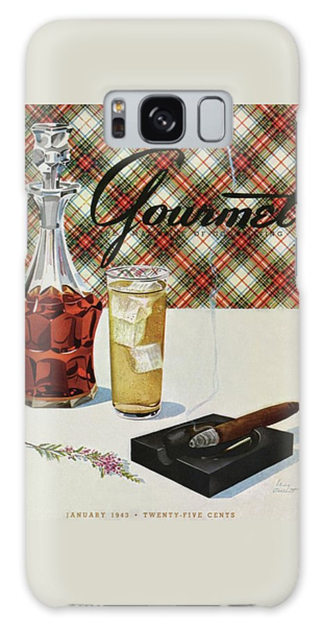 Illustration Galaxy S8 Case featuring the photograph A Cigar In An Ashtray Beside A Drink And Decanter by Henry Stahlhut