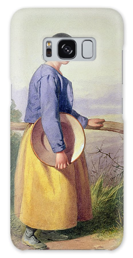 Victorian Sentiment Galaxy S8 Case featuring the photograph A Country Girl Standing By A Fence by William Lee