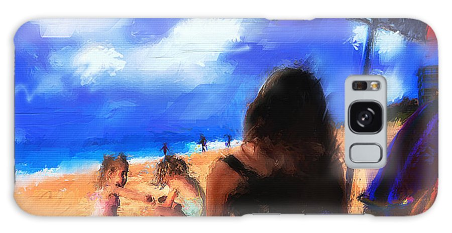 Beach Art Paintings Galaxy S8 Case featuring the painting A Day At The Beach by Ted Azriel