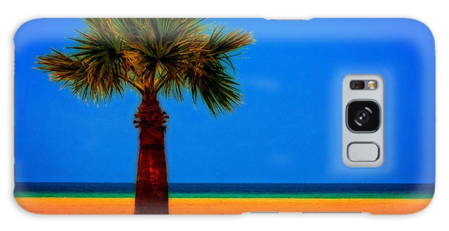 Painting Galaxy S8 Case featuring the digital art A Digitally Converted Painting Of A Lone Palm Tree At The Seaside by Ken Biggs