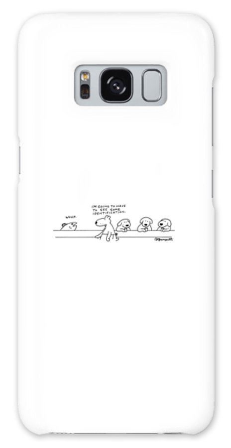 Captionless Bar Galaxy S8 Case featuring the drawing A Fish At A Dog Bar Says by Charles Barsotti