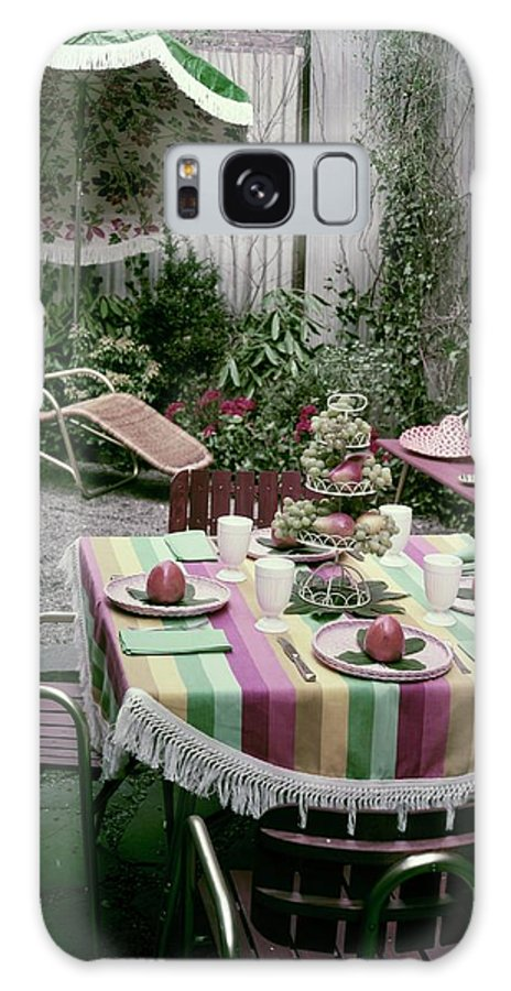 Harold Schwartz Galaxy S8 Case featuring the photograph A Garden Set Up For Lunch by Tom Leonard