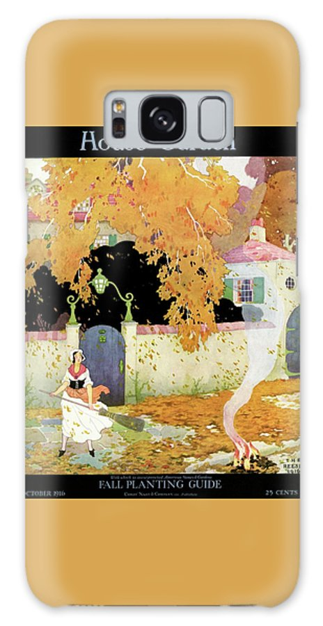 House And Garden Galaxy S8 Case featuring the photograph A Girl Sweeping Leaves by The Reeses