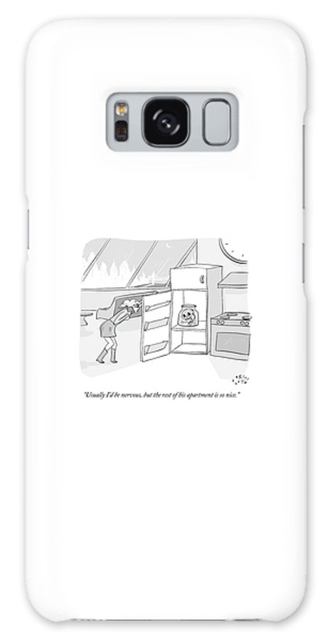 Date Galaxy S8 Case featuring the drawing A Girl Who Is Talking On The Phone Opens A Fridge by Farley Katz