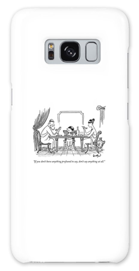 Greeks Galaxy Case featuring the drawing A Greek Family Is Seen Eating At The Table by Robert Leighton