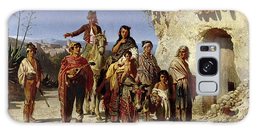 Travelling Galaxy S8 Case featuring the photograph A Gypsy Family On The Road, C.1861 Oil On Canvas by Achille Zo
