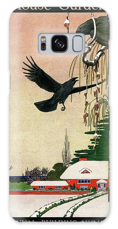 Illustration Galaxy S8 Case featuring the photograph A House And Garden Cover Of Crows By A House by Charles Livingston Bull