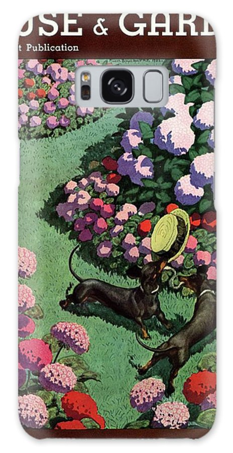 Illustration Galaxy S8 Case featuring the photograph A House And Garden Cover Of Dachshunds With A Hat by Pierre Brissaud