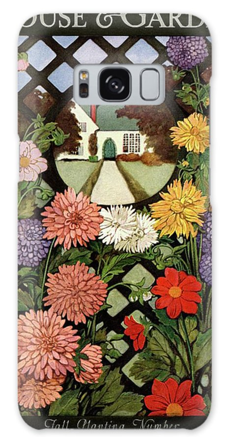 Illustration Galaxy S8 Case featuring the photograph A House And Garden Cover Of Flowers by Ethel Franklin Betts Baines