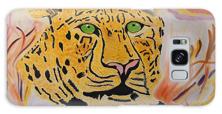 Leopard Galaxy S8 Case featuring the painting A Leopard's Gaze by Meryl Goudey