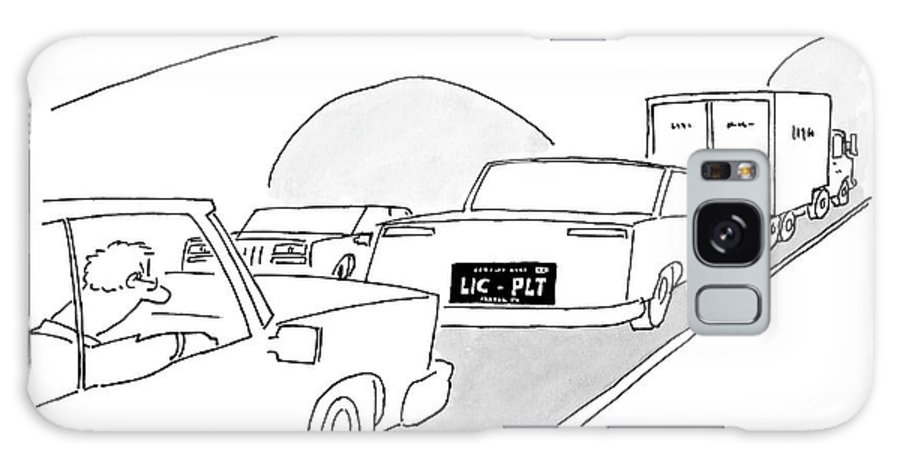 Captionless Galaxy S8 Case featuring the drawing A License Plate That Reads  Lic-plt by Jack Ziegler