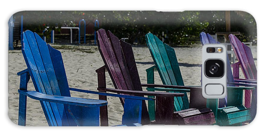 Beach Chairs Galaxy S8 Case featuring the photograph A Line Up Of A Different Color by Judy Wolinsky