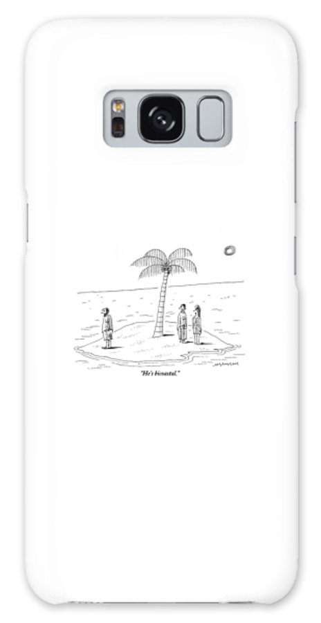 Shipwrecked Galaxy S8 Case featuring the drawing A Man And A Woman Stand On One Coast Of A Tiny by Mick Stevens