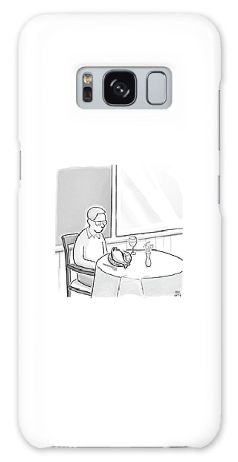 Cctk. Restaurant Galaxy S8 Case featuring the drawing A Man At A Restaurants Looks At The Fish by Paul Noth